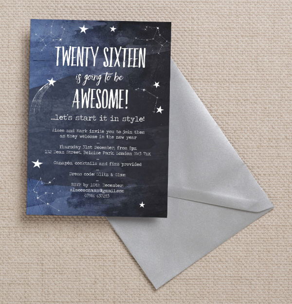 diy printable printed midnight blue night sky stars cosmic constellations new years eve party invitations invites