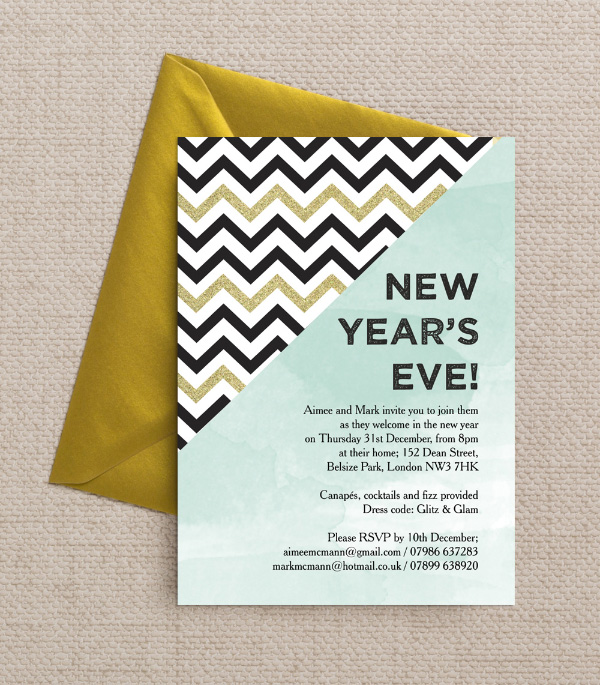 DIY Printable Printed Mint Green Gold Black White Chevrons Glitter Watercolour Calligraphy Confetti New Years Eve Party Invitations Invites by Hip Hip Hooray