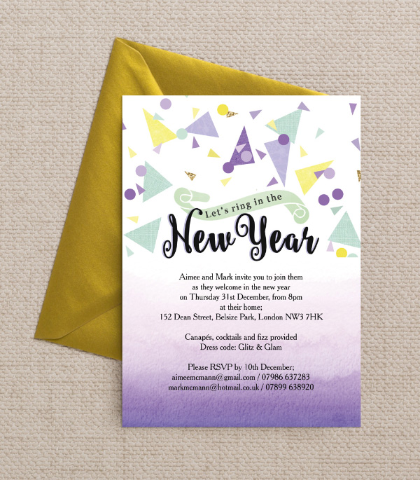 DIY Printable Printed Mint Green Lilac Yellow Gold Black White Confetti Glitter Watercolour Calligraphy Confetti New Years Eve Party Invitations Invites by Hip Hip Hooray