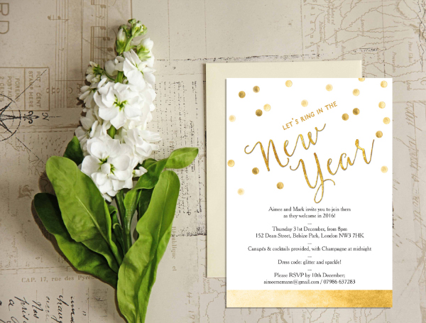 DIY Printable Printed White Gold Calligraphy Confetti New Years Eve Party Invitations Invites by Hip Hip Hooray