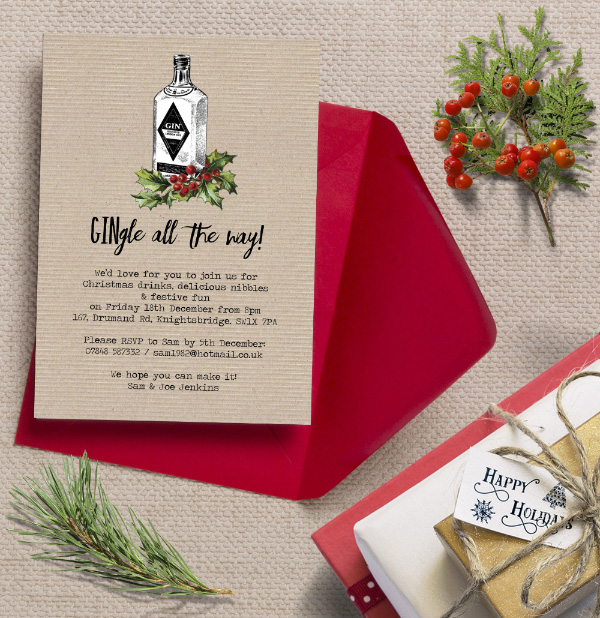 Personalised Christmas Festive Holiday Xmas Party Dinner Event Invitations Invites Printed Printable DIY Gin Gingle Bells Humorous Funny Rustic Kraft Alternative Fun by Hip Hip Hooray