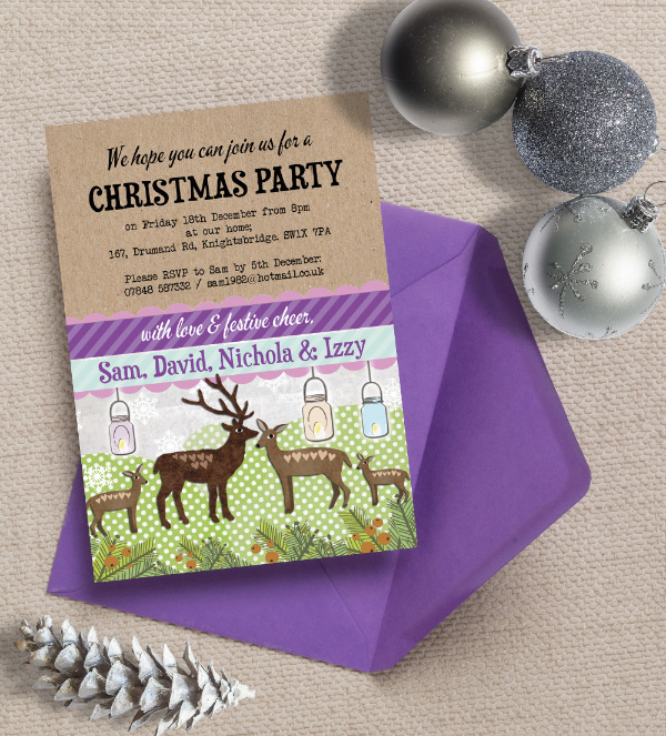 Personalised Christmas Festive Holiday Xmas Party Dinner Event Invitations Invites Printed Printable DIY Print your own, Woodland Deer Stag Kitsch Retro by Hip Hip Hooray
