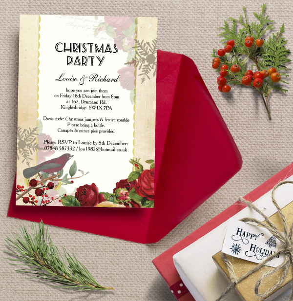 Personalised Christmas Festive Holiday Xmas Party Dinner Event Invitations Invites Printed Printable DIY Red White Vintage