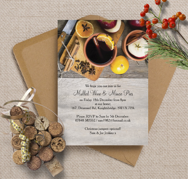 Personalised Personalized Christmas Festive Holiday Xmas Party Dinner Event Invitations Invites Printed Printable DIY Print your own, Mulled Wine Mince Pies Rustic by Hip Hip Hooray