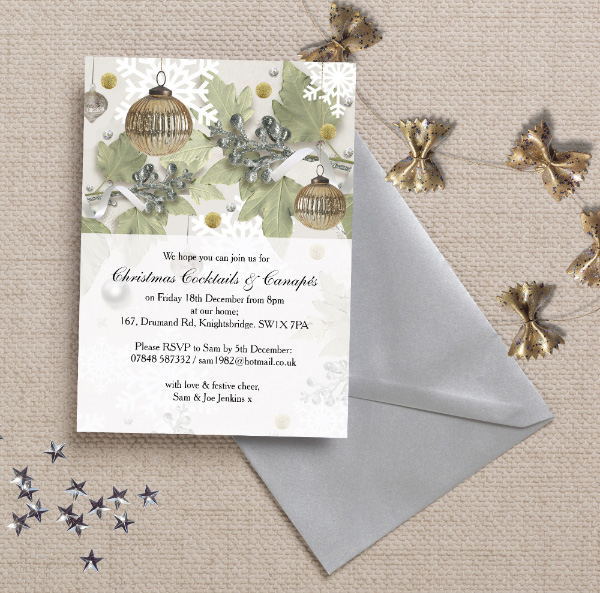 Personalised Personalized Christmas Festive Holiday Xmas Party Dinner Event Invitations Invites Printed Printable DIY Print your own, Sparkle Glitter Silver Gold by Hip Hip Hooray