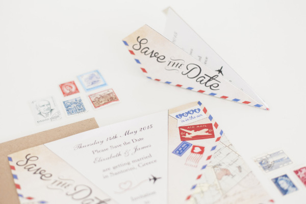 Vintage Airmail Travel Destination Wedding Stationery Save the Date Paper Airplane Aeroplane by HipHipHooray.com