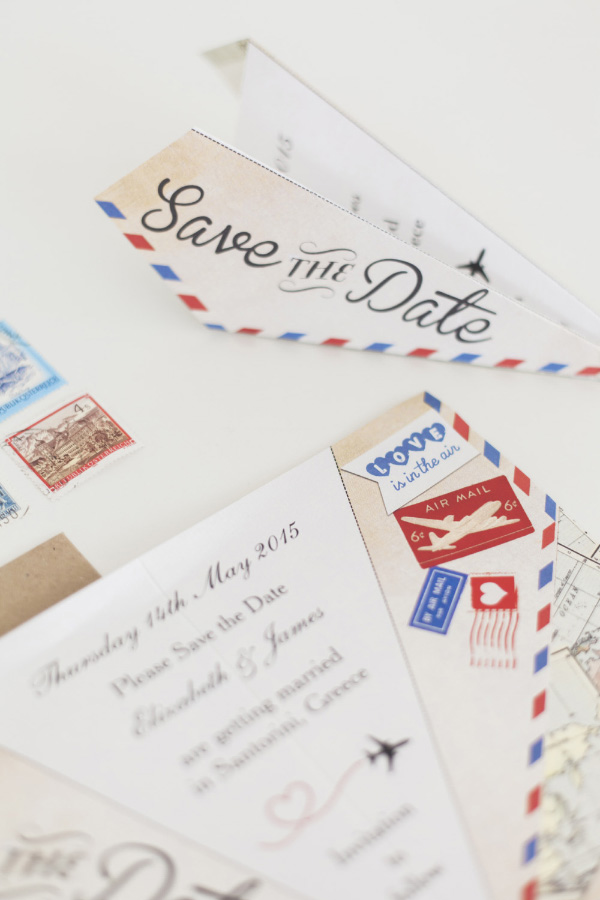 Vintage Airmail Travel Destination Wedding Stationery Save the Date Paper Airplane Aeroplane by HipHipHooray.com, from 80p 7