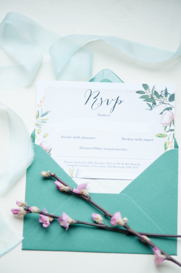 spring green pink floral flowers leaves wedding inspiration invitations invites and stationery by Hip Hip Hooray.com 4