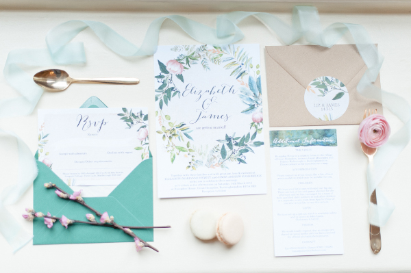 spring green pink floral flowers leaves wedding inspiration invitations invites and stationery by Hip Hip Hooray.com 5