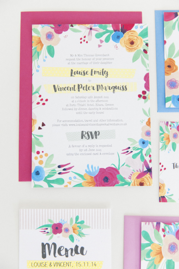 Maxeen Kim Photography - Hip Hip Hooray-Floral Flowers Bright Hand Painted Fun Wedding Invitations Stationery 11
