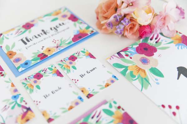 Maxeen Kim Photography - Hip Hip Hooray-Floral Flowers Bright Hand Painted Fun Wedding Invitations Stationery 12