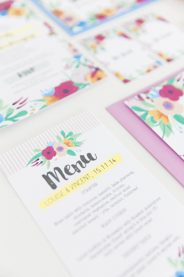 Maxeen Kim Photography - Hip Hip Hooray-Floral Flowers Bright Hand Painted Fun Wedding Invitations Stationery 13