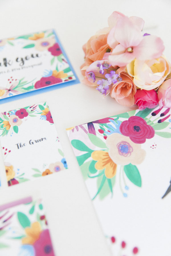 Maxeen Kim Photography - Hip Hip Hooray-Floral Flowers Bright Hand Painted Fun Wedding Invitations Stationery 2