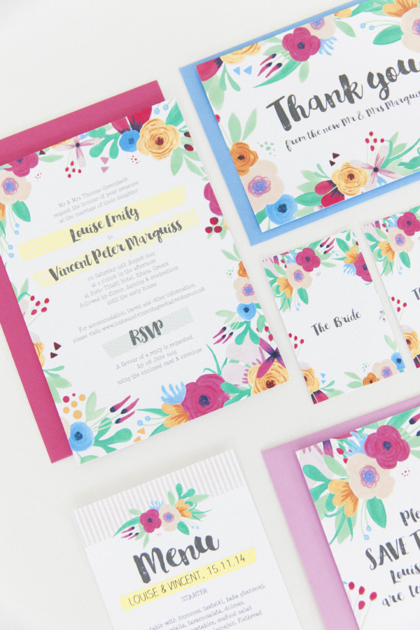Maxeen Kim Photography - Hip Hip Hooray-Floral Flowers Bright Hand Painted Fun Wedding Invitations Stationery 3