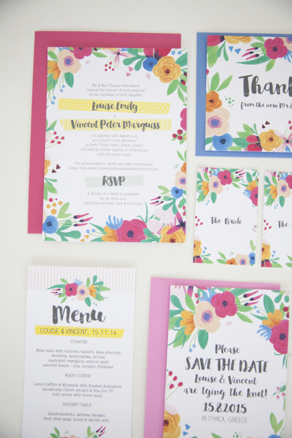 Bright Coloured Floral Fiesta Wedding Invitations and Stationery
