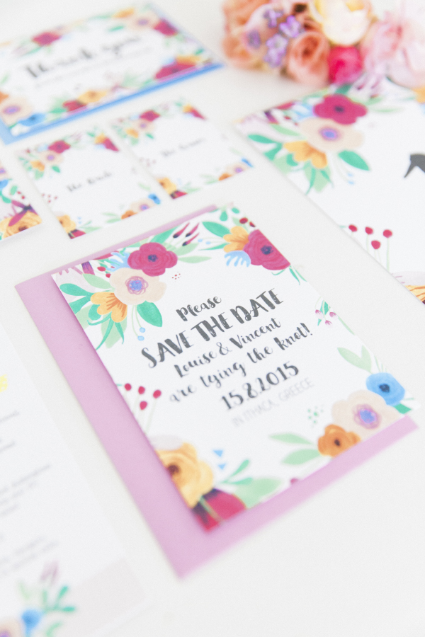 Maxeen Kim Photography - Hip Hip Hooray-Floral Flowers Bright Hand Painted Fun Wedding Invitations Stationery 6