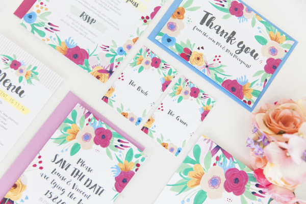 Maxeen Kim Photography - Hip Hip Hooray-Floral Flowers Bright Hand Painted Fun Wedding Invitations Stationery 7
