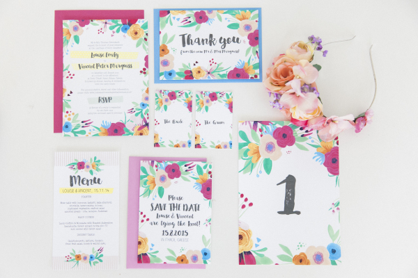 Maxeen Kim Photography - Hip Hip Hooray-Floral Flowers Bright Hand Painted Fun Wedding Invitations Stationery 8
