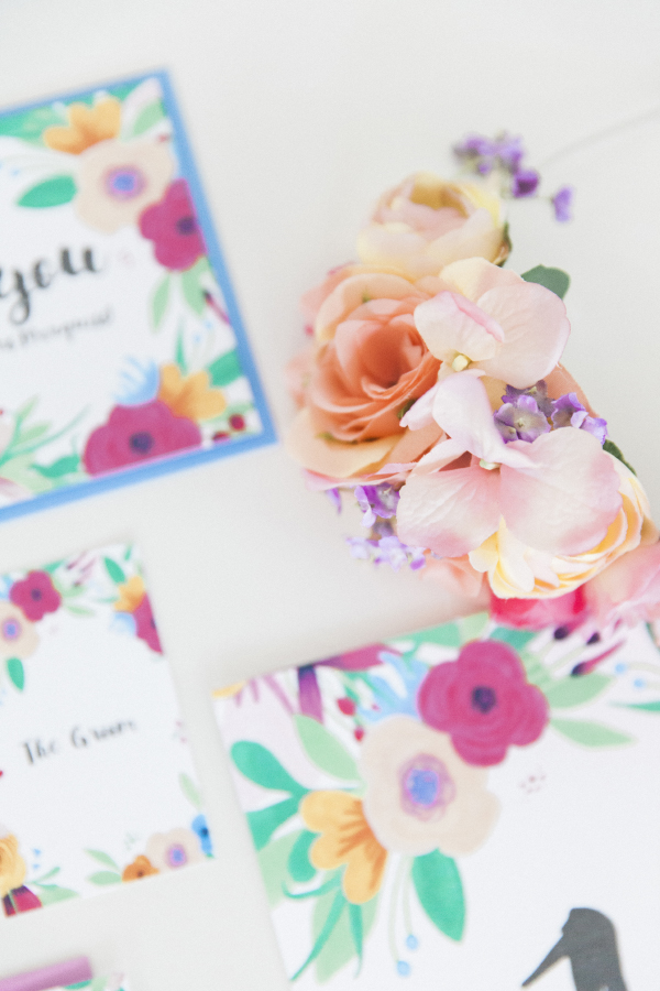 Maxeen Kim Photography - Hip Hip Hooray-Floral Flowers Bright Hand Painted Fun Wedding Invitations Stationery 9