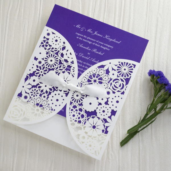 Personalised Lace Wedding Invitations Invites Laser Cut from UK Bright Cadbury Purple