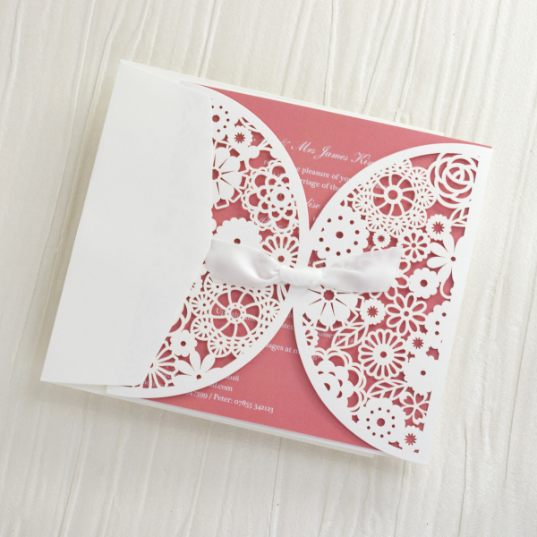 Laser Cut Floral & Lace Personalised Wedding Invitations