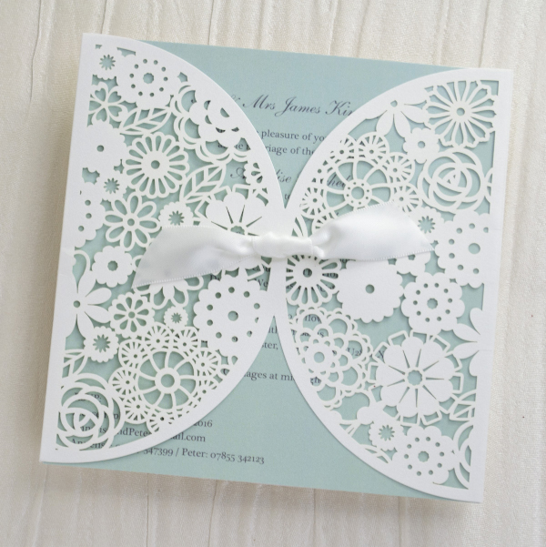 Personalised Lace Wedding Invitations Invites Laser Cut from UK Duck Egg Blue
