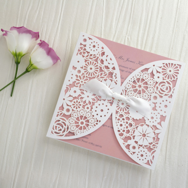 Personalised Lace Wedding Invitations Invites Laser Cut from UK Peach Blush Pink by HIp Hip Hooray