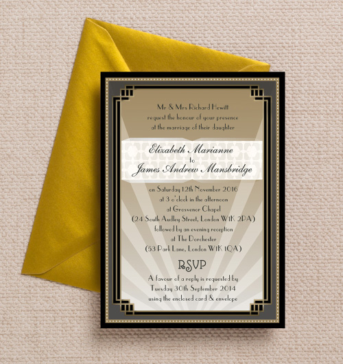 Art Deco 1920s Great Gatsby Black Champagne Hollywood Vintage Gold wedding invitations invites printable printed by Hip hip hooray stationery