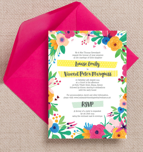 Bright Rainbow floral flowers hand painted roses pink yellow blue green wedding invitations invites printable printed by Hip hip hooray stationery