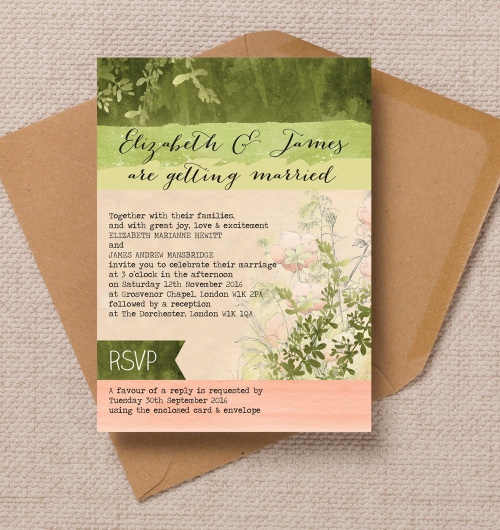 Kraft Green Peach Coral Pink Wild Meadow Garden Floral Flowers Nature Watercolour wedding invitations invites printable printed by Hip hip hooray stationery