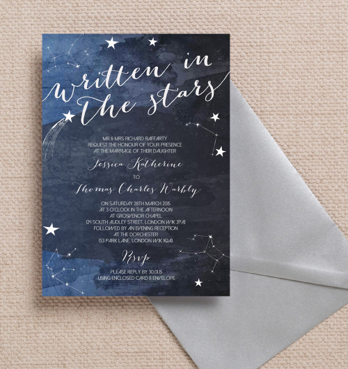 Navy Blue Night Sky Midnight Watercolour Stars Celestial Space Constellations Astrology Astronomy wedding invitations invites printable printed by Hip hip hooray stationery