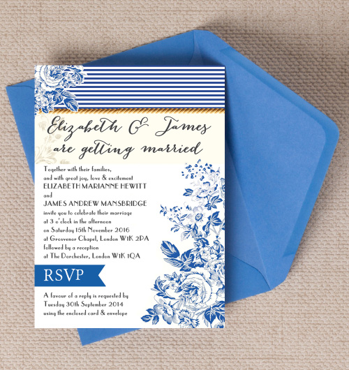 Navy Blue Rustic Kraft Nautical French Toile de Juoy Floral Fabric Print wedding invitations invites printable printed by Hip hip hooray stationery