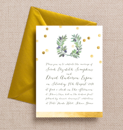 Olive Branch Painted Wreath Green Gold Confetti Mediterranean Italian Greek wedding invitations invites printable printed by Hip hip hooray stationery
