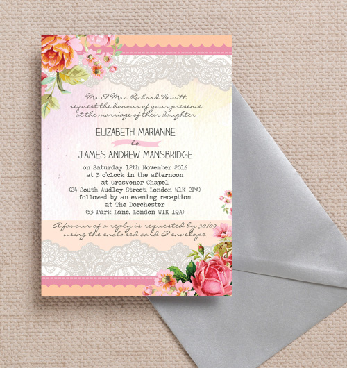 Pastel Peach Pink Coral Lace Roses Floral FLowers Watercolour Vintage wedding invitations invites printable printed by Hip hip hooray stationery
