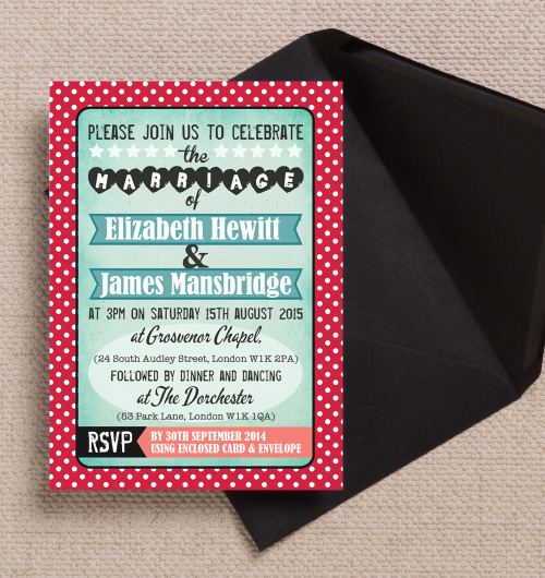 Retro Rock n Roll Rockabilly 1950s Diner Americana Turquoise Red Black Aqua Polka Dot wedding invitations invites printable printed by Hip hip hooray stationery
