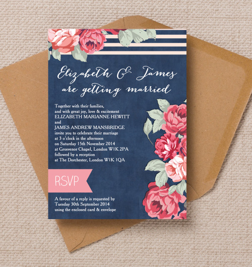 Rustic vintage floral denim navy blue roses pink wedding invitations invites printable printed by Hip hip hooray stationery