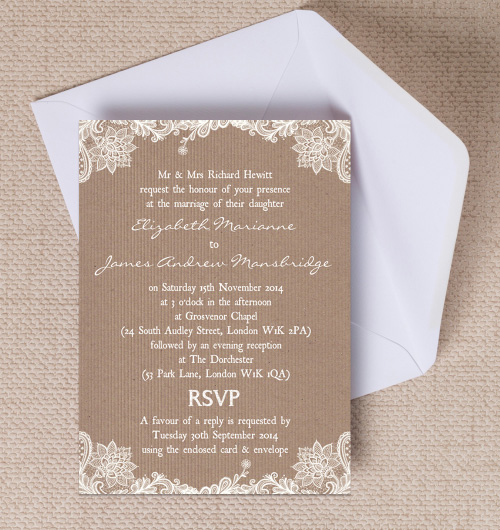 Rustic vintage lace kraft brown paper wedding invitations invites printable printed by Hip hip hooray stationery
