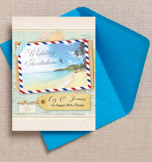 Tropical Beach Postcard Airmail Travel Destination Postcard Hawaii Seychelles Mauritius Bali Mexico wedding invitations invites printable printed by Hip hip hooray stationery