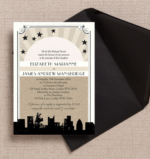 Vintage Old Hollywood Couple Dancing Rooftop City Skyline Black Tie Champagne Black Ivory wedding invitations invites printable printed by Hip hip hooray stationery