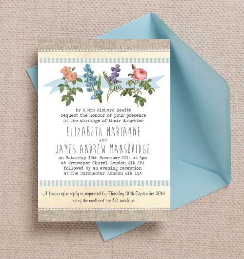 Vintage Rustic Botanical Illustrations Flowers Floral Nature Hessian Burlap wedding invitations invites printable printed by Hip hip hooray stationery