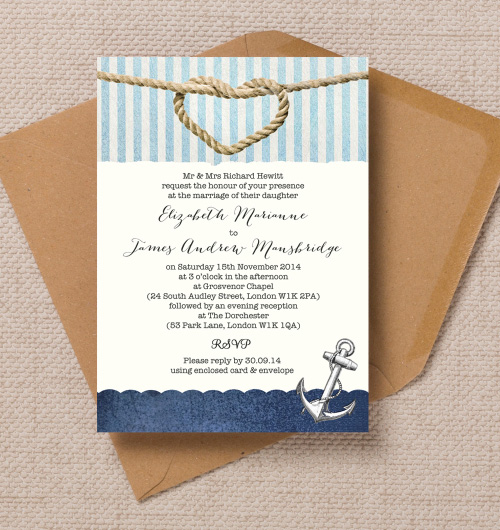 Vintage nautical coastal beach seaside blue navy stripes anchor knot heart wedding invitations invites printable printed by Hip hip hooray stationery