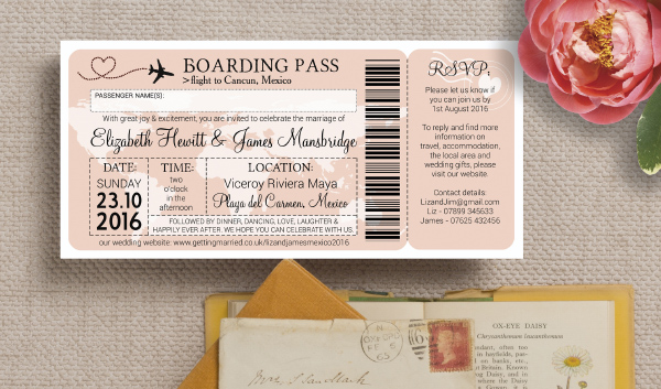 Blush Pink Boarding Pass Travel Destination Wedding Invitations by Hip Hip Hooray from £1