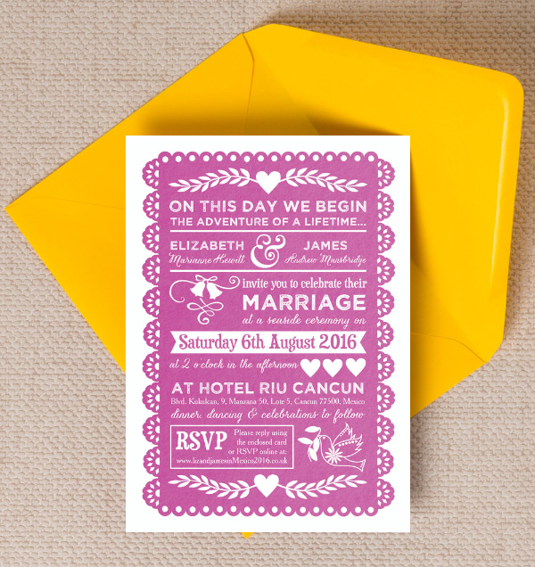 top 10 mexican themed destination wedding invitations