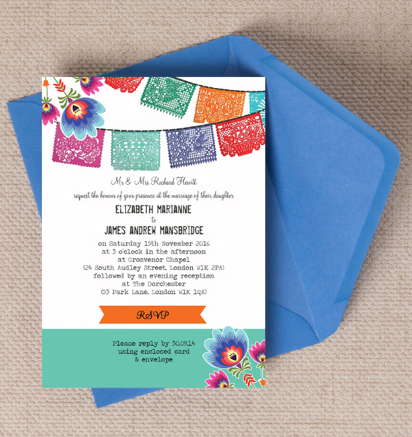 Mexican Paper Bunting Papel Picado Mexico Bright Fun Summer Destination wedding invitations invites printable printed by Hip hip hooray stationery