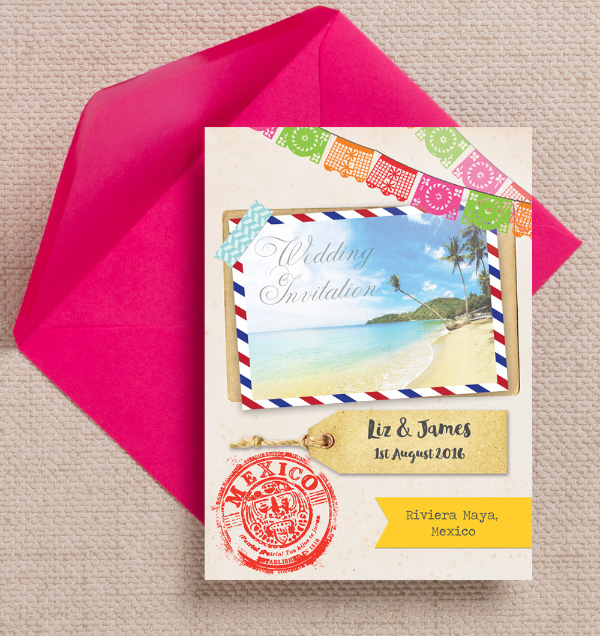 Mexican beach Bunting Palm Trees Destination Wedding Invitations Invites Printed Printable 2