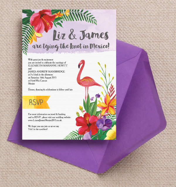 Mexico Mexican Tropical Hibiscus Flowers Flamingo Palm Trees Rustic Kraft Destination Wedding Invitations Invites by Hip Hip Hooray Printable Printed