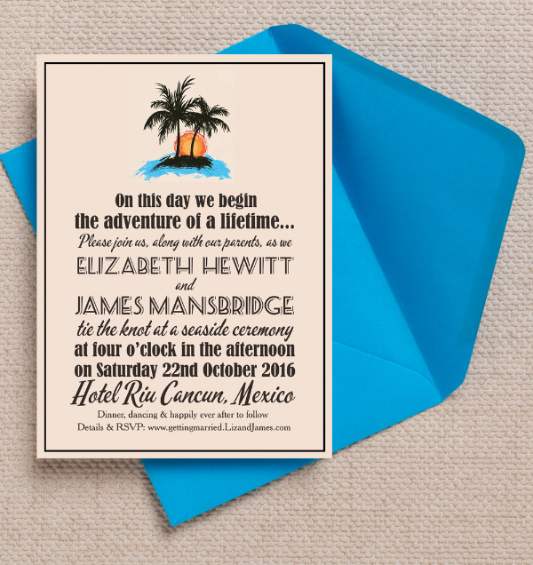 Mexico Mexican Vintage Retro Palm Trees Rustic Kraft Destination Wedding Invitations Invites by Hip Hip Hooray Printable Printed