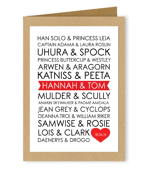Personalised Customised Alternative Wedding Valentines Day Card Famous Couples Sci-Fi Fantasy Science Fiction