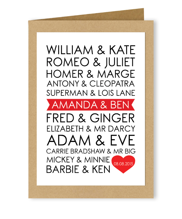 Personalised Customised Wedding Valentines Day Alternative Card Famous Couples Throughout History by Hip Hip Hooray