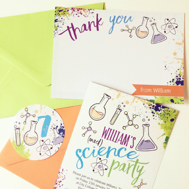 Science Mad Scientists Laboratory Kids Childrens Birthday Party Invitations Invites Printable Printed Hip Hip Hooray 3